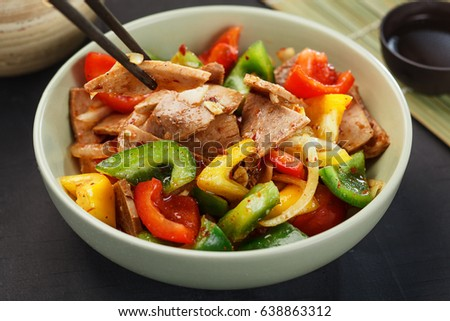 Delicious salad with meat and pepper