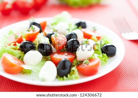 delicious salad with mozzarella and tomatoes, healthy food - stock photo