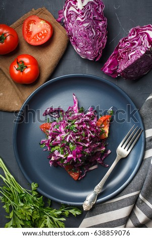 Delicious salad with red gabbage. Overhead view, stock image
