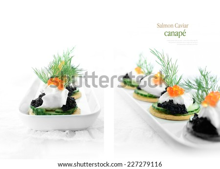 Delicious salmon caviar and cream cheese canapes against white. Two different views. Copy space. - stock photo