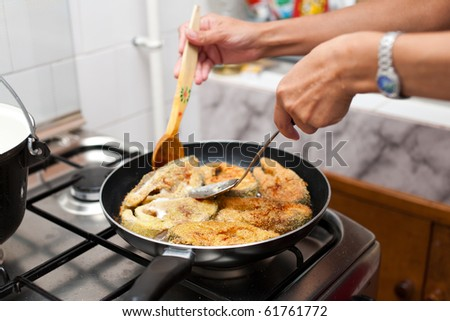 Delicious salmon fillets roasted in the frying pan - stock photo