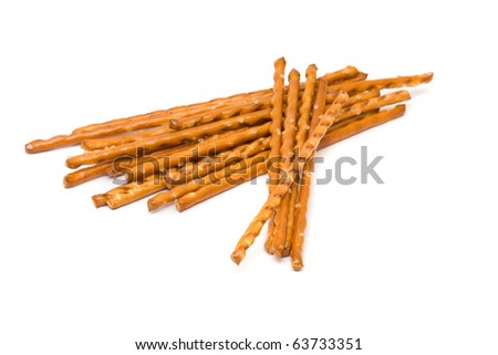 Delicious salted pretzel snack over white background - stock photo