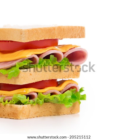 Delicious Sandwich closeup isolated on the white background - stock photo