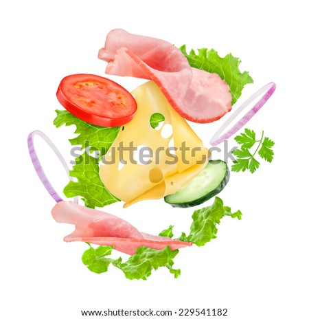 Delicious sandwich ingredients in the air on an isolated white background - stock photo