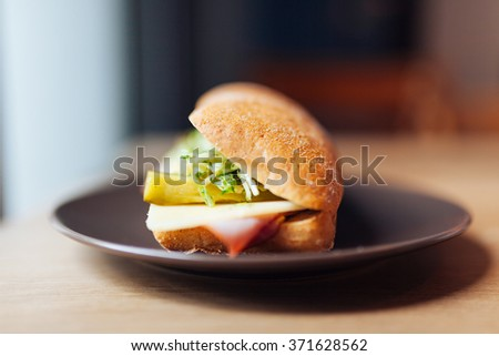 Delicious sandwich on a plate, close-up - stock photo