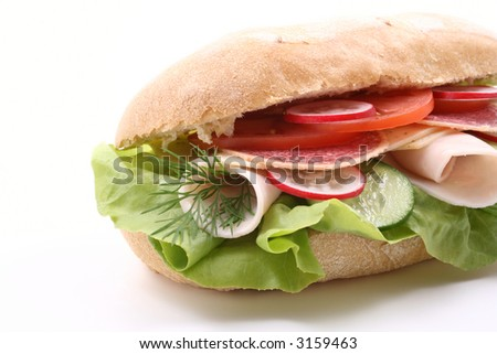 delicious sandwich with cheese ham and vegetables isolated on white - stock photo