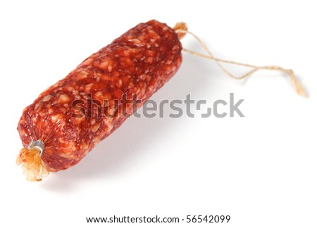 Delicious sausage, isolated on white background - stock photo