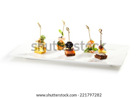 Delicious Seafood and Vegetables Canapes - stock photo