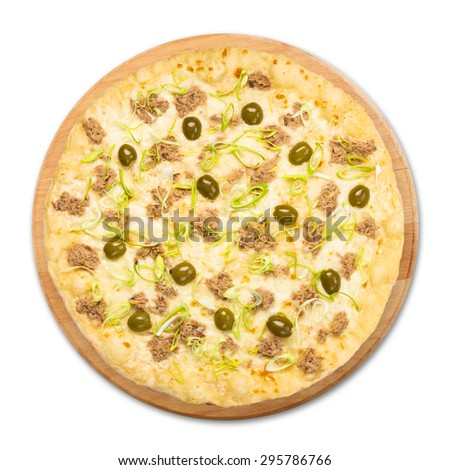 Delicious seafood pizza with tuna fish, olives and leek - thin pastry crust at white background above view on wooden desk - stock photo