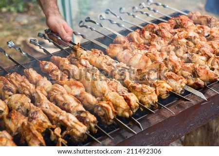 Delicious Shish Kebab, sashlik close-up - stock photo