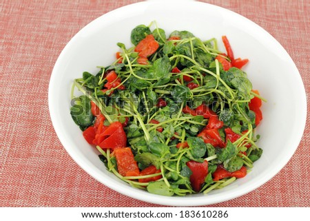 Delicious simple recipe of fresh watercress and roasted red pepper pieces mixed with lemon juice and olive oil in a round white bowl on a pastel orange and silver speckled cloth place mat closeup.  - stock photo