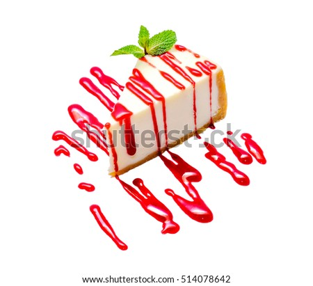 Delicious slice of new york cheesecake with strawberry jam and green mint on white background, isolated. Sweet and tasty food, coffee break concept. Classic american dessert.
