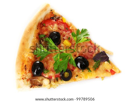 delicious slice of pizza isolated on white - stock photo