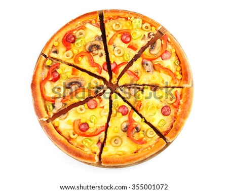 Delicious sliced pizza, isolated on white