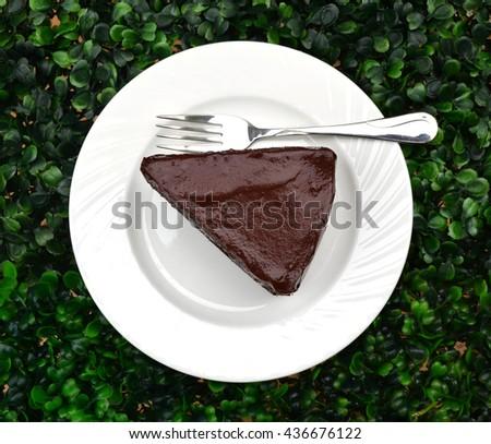 Delicious, soft sliced fresh homemade dark chocolate cake on white dish - top view - stock photo