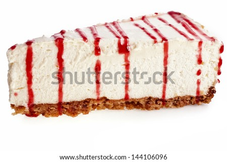 delicious souffle cake piece covered isolated on a white background - stock photo