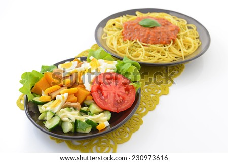 Delicious spaghetti and salad