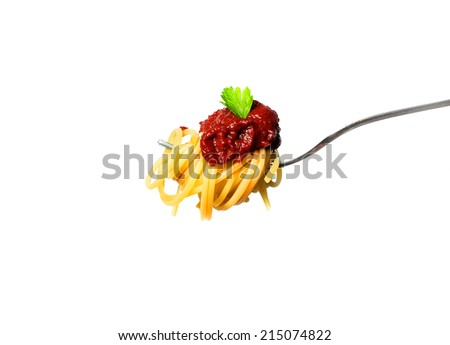 Delicious spaghetti on fork close-up on white background - stock photo