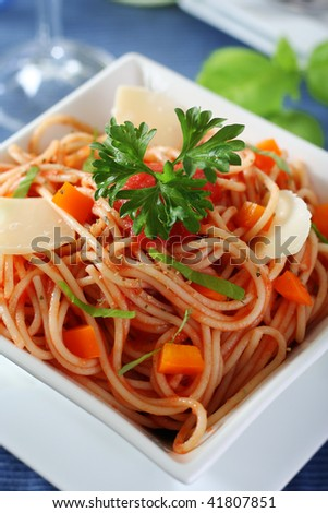 delicious spaghetti with tomato sauce, healthy lunch - stock photo