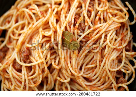 Delicious spaghetti with tomatoes photographed close up - stock photo