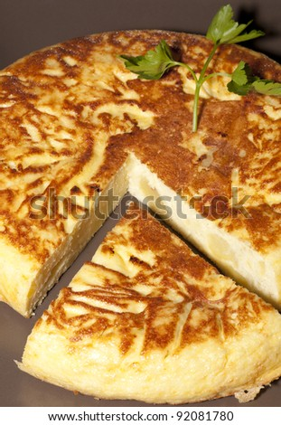 Delicious Spanish omelette with onions