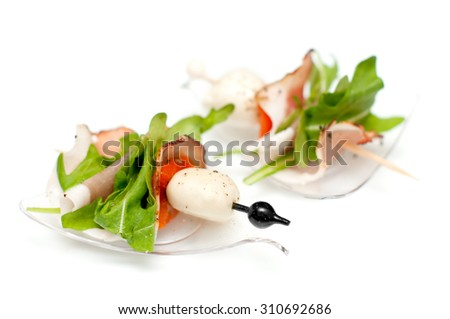 Delicious Stand-up snack shrimp with sauce and clams - stock photo