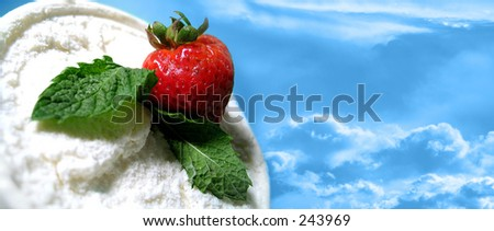 delicious strawberry and ice cream in the sky - stock photo