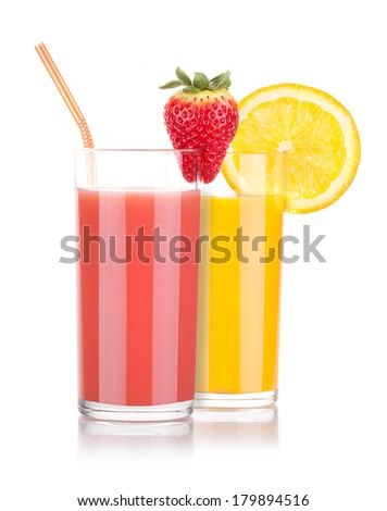 Delicious Strawberry and orange smoothie in glass with tube isolated - stock photo