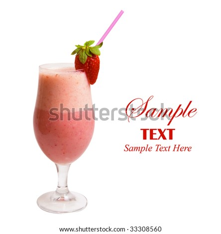 Delicious Strawberry Smoothie isolated over white background. - stock photo
