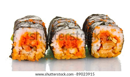 delicious sushi isolated on white