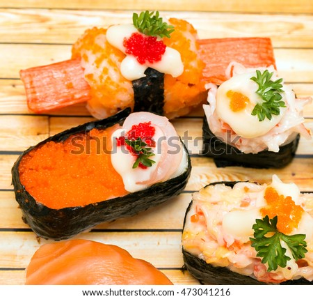 Delicious Sushi Representing Asian Food And Cuisine