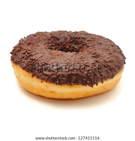 Delicious sweet donuts on white background