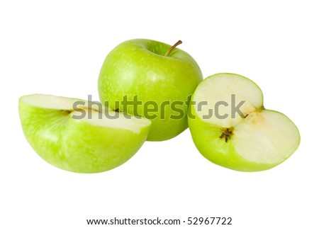 Delicious sweet Granny Smith Apples, cut in half and whole.