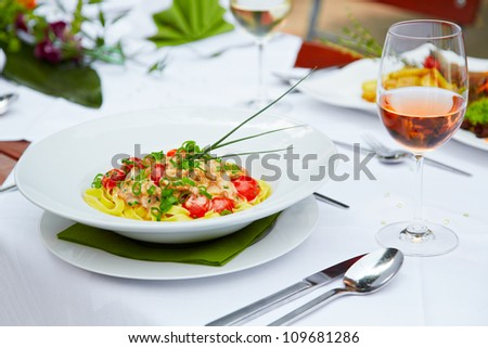 delicious tagliatelle at the restaurant - stock photo