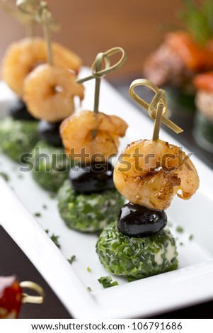 delicious tapas / appetizer food - stock photo
