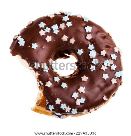 delicious tasty donut with a missing bite isolated over a white background - stock photo