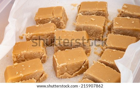 Delicious tasty pieces of sweet brown maple syrup fudge wrapped in wax paper - stock photo