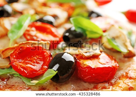 Delicious tasty pizza, closeup - stock photo