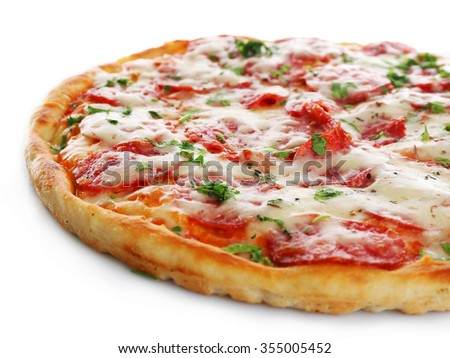 Delicious tasty pizza, isolated on white - stock photo