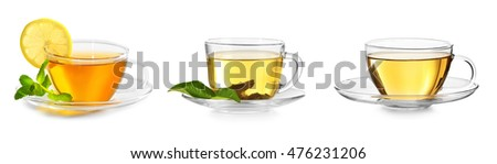 Delicious tea collage on white background.