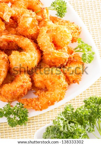 Delicious tempura (deep fried prawn) - stock photo
