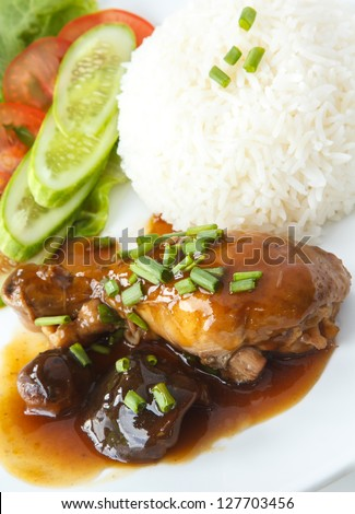 Delicious Thai Dishes, Thai style Chicken stew with Shiitake mushrooms and Steamed rice. - stock photo