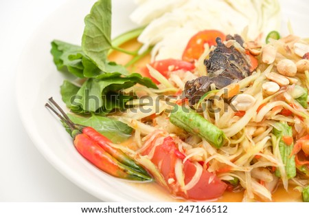 Delicious thai green papaya salad with hot and spicy taste with vegetables for local food background  - stock photo