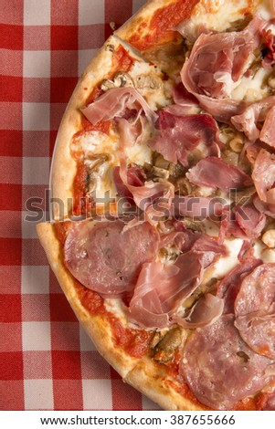 delicious thin italian pizza top view - stock photo