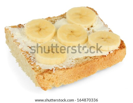 Delicious toast with bananas isolated on white