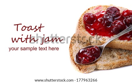 Delicious toast with jam isolated on white - stock photo