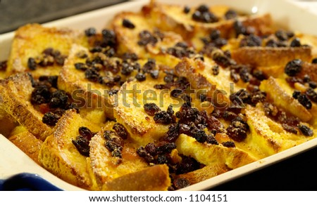 Delicious Traditional Bread And Butter Pudding With Egg Custard Sugar And Dried Fruits Shallow Dof