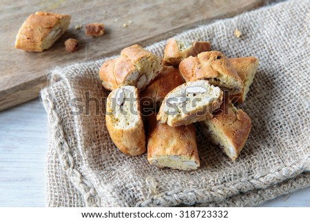 Delicious traditional cantucci biscuit, typical from Tuscany region, Italy - stock photo
