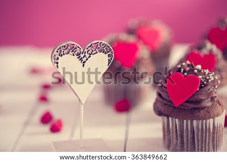 Delicious Valentine's Day Cupcakes With Lovely Decoration - stock photo