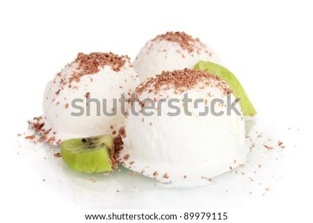 delicious vanilla ice cream with chocolate and kiwi isolated on white - stock photo